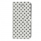 Polka Dot Protective PU Leather Flip-Open Case for Iphone 5 - White + Black