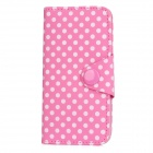 DK-04 Polka Dot Protective PU Leather Flip-Open Case w/ 2 Card Slots for Iphone 5 - Pink