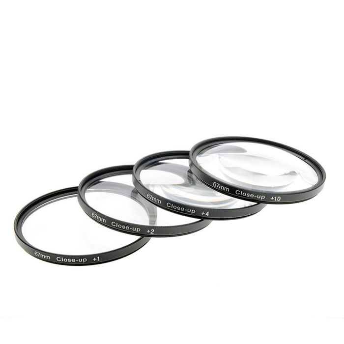 Close Up +1 / +2 / +4 / +10 Lens Filters Set - Black (67mm / 4 PCS)