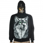 Wolf Pattern Cool Man's Cotton Round Collar Warm Jacket Coat w/ Hat + Zipper - Black (Size L)