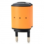 BISIT Universal AC Power Adapter Charger w/ USB Output for Cell Phones - Orange (2-Round-Pin Plug)