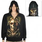 Skull Pattern Cool Man's Round Collar Cotton Warm Jacket Coat w/ Hat + Zipper - Black (Size L)