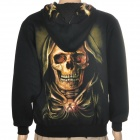 Skull Pattern Cool Man's Cotton Warm Hoodie Jacket Coat w/ Zipper - Black (Size L)