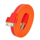 Flat USB Charging / Data Transmission Cable for iPhone 4 / 4S / iPad - Main Red (1m)