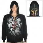 Skull Red Eye Pattern Cool Man's Glow-in-the-Dark Cotton Warm Coat w/ Hat + Zipper - Black (Size L)