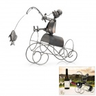 SA-33 Kreative Fishing Man Iron Red Wine Holder - Dark Grey