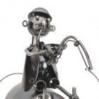 SA-33 Creative Fishing Man Iron Red Wine Holder - Dark Grey