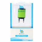 BISIT Universal AC Power Adapter Charger w/ USB Output for Cell Phones - Green (2-Round-Pin Plug)