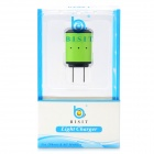 BISIT Universal AC Power Adapter Charger w/ USB Output for Cell Phones - Green (2-Flat-Pin Plug)