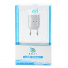 BISIT Universal AC Power Adapter Charger w/ USB Output for Cell Phones - White (2-Round-Pin Plug)