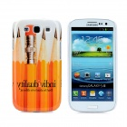 Pencil Style Protective Plastic Back Case for Samsung Galaxy S3 i9300 - Orange + White