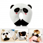 Cute Panda Shaped Short Plush + PP Cotton Head Support U Pillow - White + Black