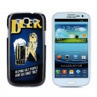 Beer Style Protective Plastic Back Case for Samsung Galaxy S3 i9300 - Dark Blue + Black + Yellow