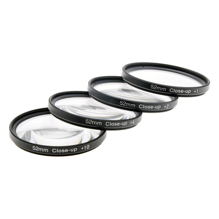 Close Up +1 / +2 / +4 / +10 Lens Filters Set - Black (52mm / 4 PCS)