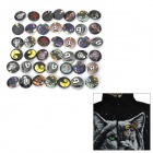 Stilvolle runde Form Jack Stil 42-in-1 Badges Set - Schwarz + Weiß + Gelb