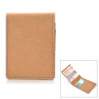 Fashionable Ultra-Slim Kraft Paper Card Holder + Stainless Steel Money Clip - Light Brown