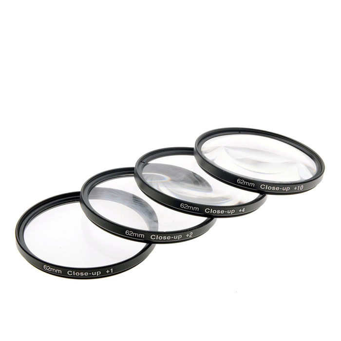 Close Up +1 / +2 / +4 / +10 Lens Filters Set - Black (62mm / 4 PCS)