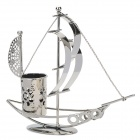 XFC-3 Decorative Sailboat Style Iron Pen Holder Case - Dark Grey