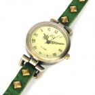 Fashion Rivet Artificial Leather Band Analog Quartz Wrist Watch - Deep Green (1 x SR626)