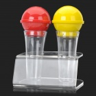 Creative Microphone Style Kitchen Spice Jar Bottle - Red + Yellow + Transparent (2 PCS)