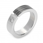 316L Stainless Steel Artificial Diamond Ring - Silver + Black (Size-US9)