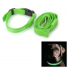 Expansive Pet's LED Nylon Strap w/ Metal Ring Clip - Green (120cm)