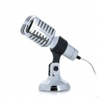 MIC-01 Desktop Laptop PC Computer Microphone w/ Stand - Silver