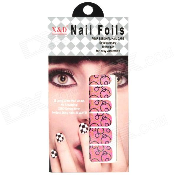 ZXFS907 Fashion 12-in-1 Nail Paper Stickers Set - Black + Pink