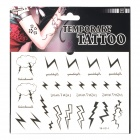 YM-K014 Fashionable Lightning Pattern Tattoo Paper Sticker - Black + White