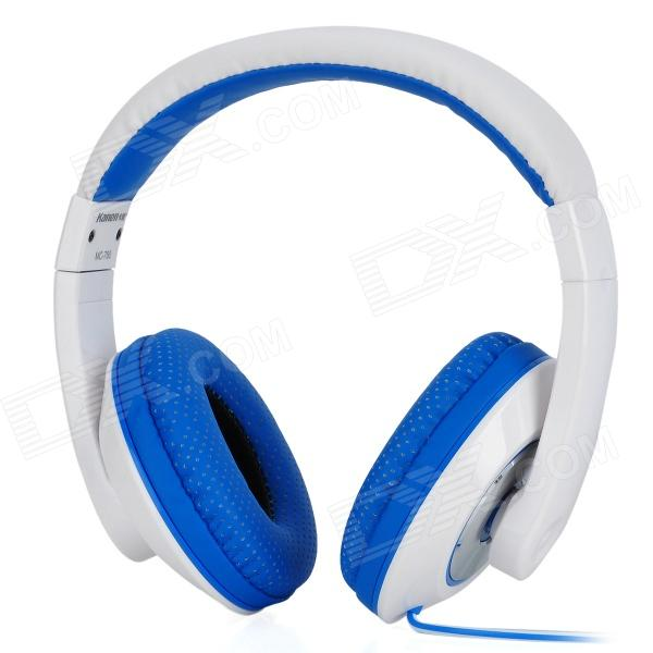 цены Kanen MC780 Stylish Headphones w/ External Microphone - White + Blue