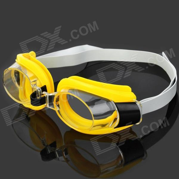 3-in-1 Swimming Goggles Glasses Set w/ Nose Clip + Ear Plugs - Black + Transparent + Yellow