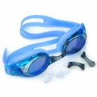MYSTYLE Electroplate Anti-Fog Silicone PC Lens Swimming Goggles w/ Nose Bridges / Ear Plugs - Blue