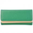 ZEA-B0002 Stone Pattern Stylish PU Leather 3-Folding Multi-Compartment Long Wallet - Green