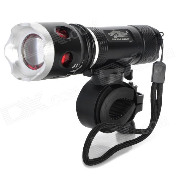 L12 200lm 3-Mode White Zooming Bike Light - Black (3 x AAA)