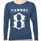 8 Pattern Fashion Man's Cotton Long Sleeve T-shirt - Deep Blue
