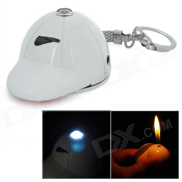Golf Cap Style ABS Butane Lighter w/ LED Flashlight / Keychain - White (3 x LR41)