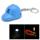 Golf Cap Style ABS Butane Lighter w/ LED Flashlight / Keychain - Blue (3 x LR41)