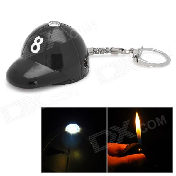 Golf Cap Style ABS Butane Lighter w/ LED Flashlight / Keychain - Black (3 x LR41)