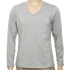 Fashion V Collar Man's Cotton Long Sleeve Under T-shirt - Grey