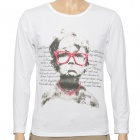 Glasses Boy Pattern Fashion Man's Cotton Long Sleeve T-shirt - White