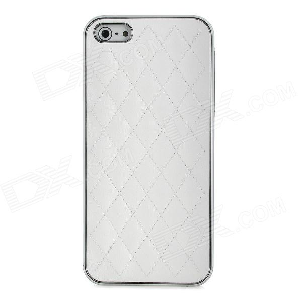 Fashion Protective Lambskin + PC Back Case with Screen Protector for Iphone 5 - White
