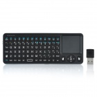 JYB-01 Mini 2,4 GHz RF Rechargeable Air Mouse 80-Key Wireless Keyboard Fernbedienung w / Touchpad - Schwarz