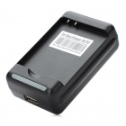 Universal Battery Charger w/ USB Outlet for Sony Ericsson X10i + More - Black (2-Flat-Pin Plug)