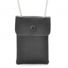 Protective PU Leather Cell Phone Pouch Bag / Wallet w/ Alloy Chain - Black + Silver (60cm-Chain)