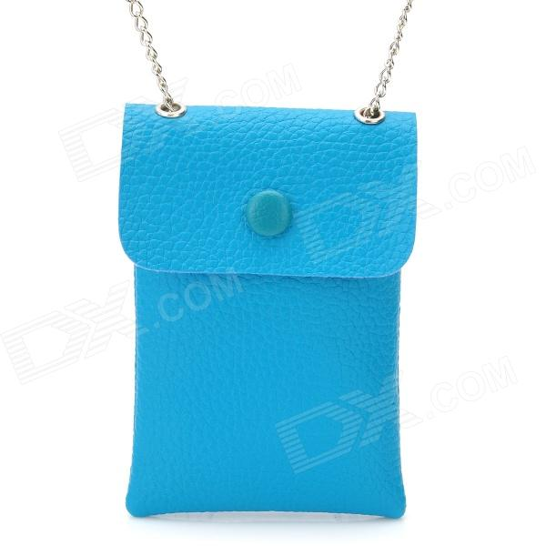 Protective PU Leather Cell Phone Pouch Bag / Wallet w/ Alloy Chain - Blue + Silver (60cm-Chain)