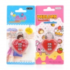 Love Heart Style 3-Digit Combination Padlock - Red + Silver (2 PCS)