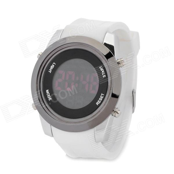 Fashion LED Silicone Band Electronic Digital Waterproof Wrist Watch w/ Alarm - White + More