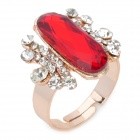 Elegant Rhinestone Ring - Red + Golden