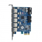 ORICO PVU3-502i 5-Port USB 3.0 + USB 3.0 20-pin PCI-E 2.0 Expansion Card - Black + Blue