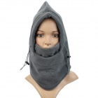Outdoor Sports Polar Fleece Hood Neck Warmer Wind Resistant Hat - Grey